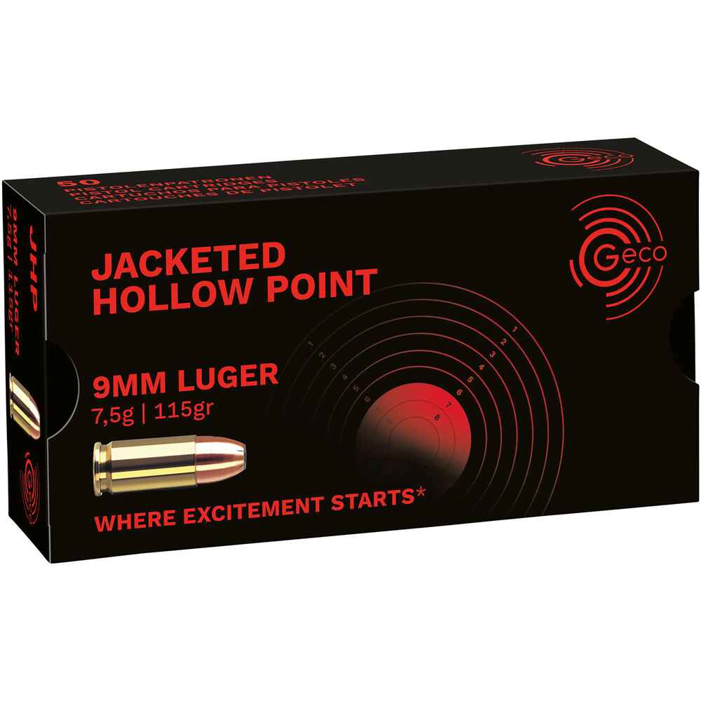 .9mm Luger HP 115grs., Geco