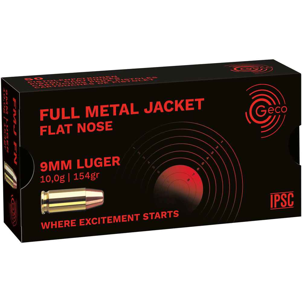.9mm Luger FMJ flat 154grs., Geco