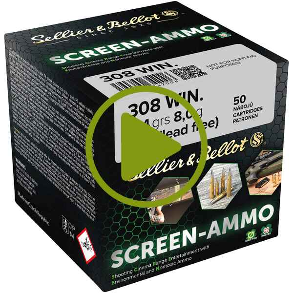 Cartouches ciné tir Screen-Ammo .308 Win. FMJ zinc 124 grs. , Sellier & Bellot