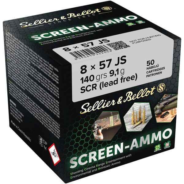 Cartouches ciné tir Screen-Ammo 8x57 IS FMJ zinc 140 grs., Sellier & Bellot