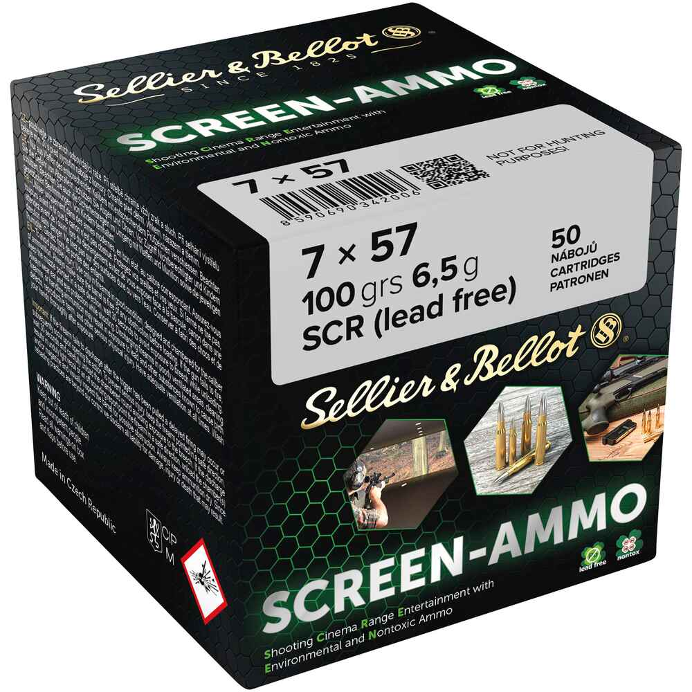 Cartouches ciné tir Screen-Ammo 7x57 FMJ zinc 100 grs., Sellier & Bellot
