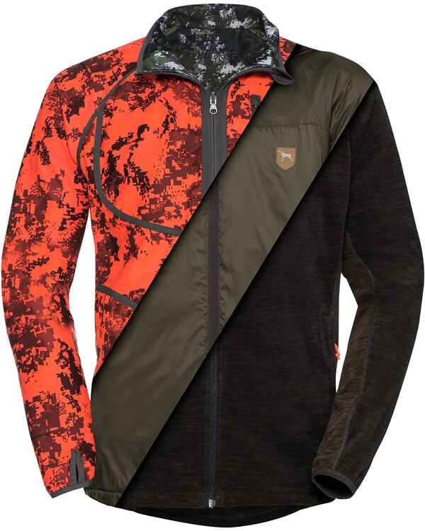 Veste réversible et imperméable Taclwood camo/orange, Parforce