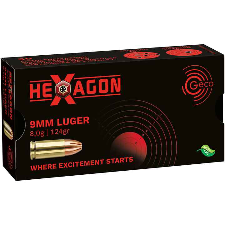 .9 mm Luger Hexagon SX 124 grs., Geco