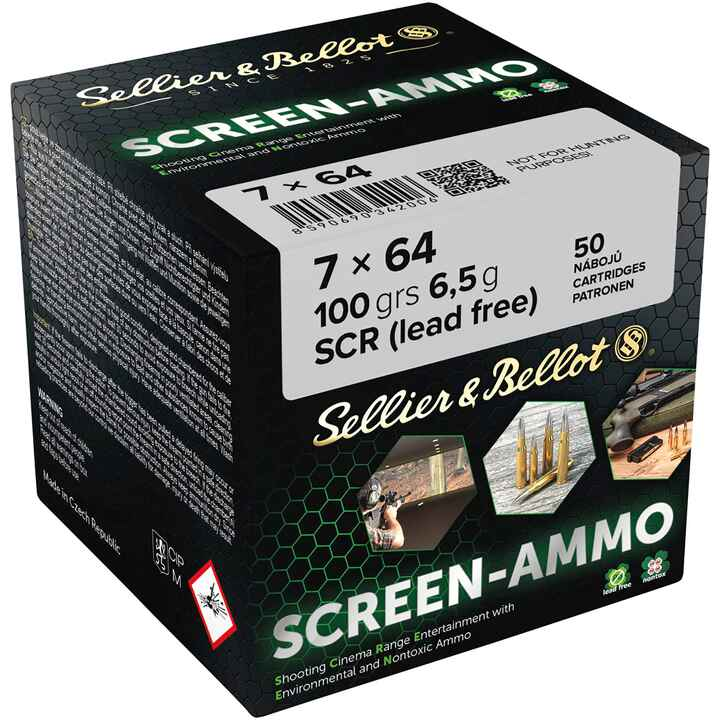 Cartouches ciné tir Screen-Ammo 7x64 FMJ zinc 100 grs., Sellier & Bellot