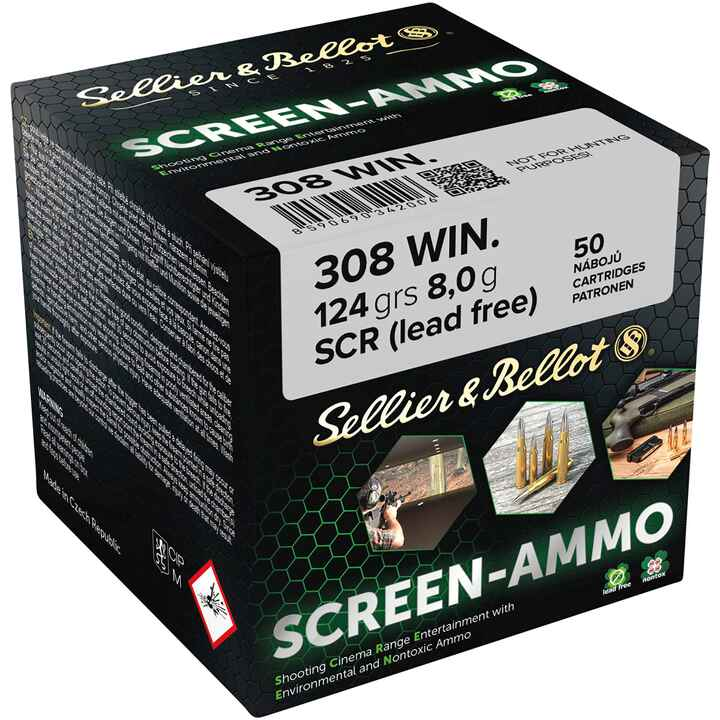 Cartouches ciné tir Screen-Ammo .308 Win. FMJ zinc 124 grs., Sellier & Bellot