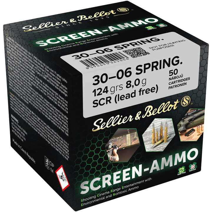 Cartouches ciné tir Screen-Ammo .30-06 Spr. FMJ zinc 124 grs., Sellier & Bellot