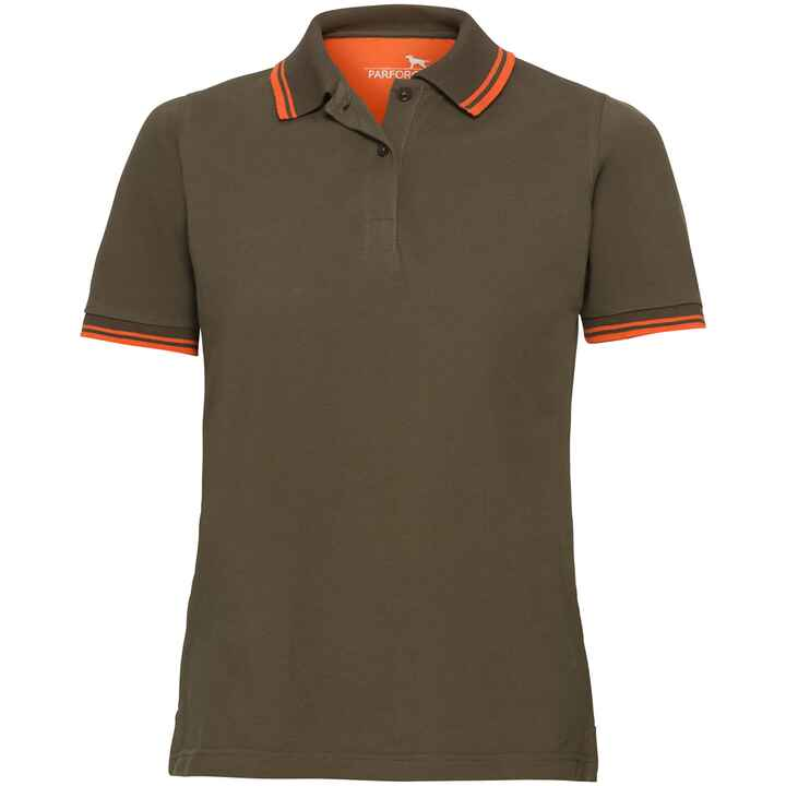 Polo femme avec logo cerf orange, Parforce