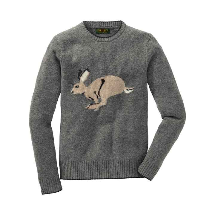 Pullover dame gris motif lièvre, Parforce Traditional Hunting