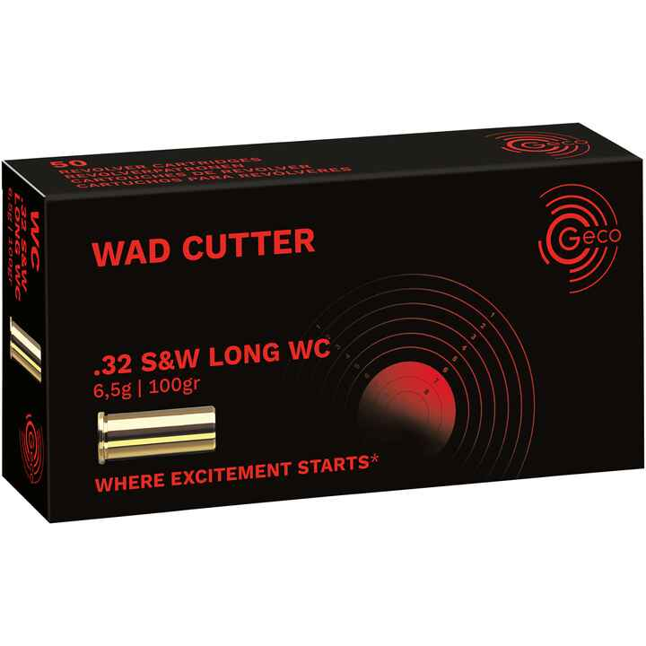 .32 S&W long WC Wadcutter plomb, Geco