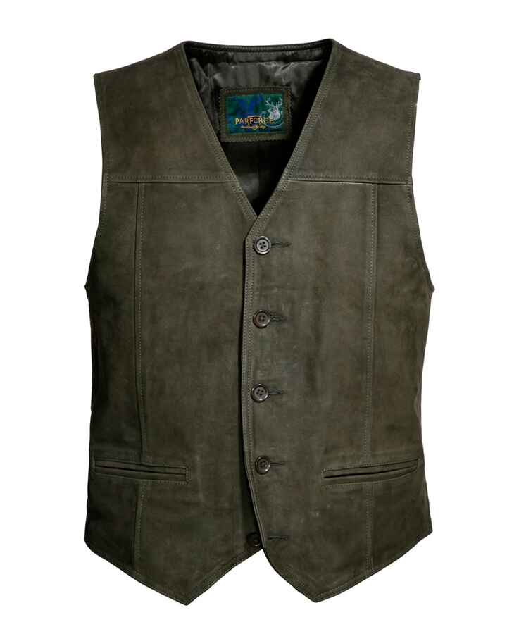 Gilet cuir court olive, Parforce Traditional Hunting
